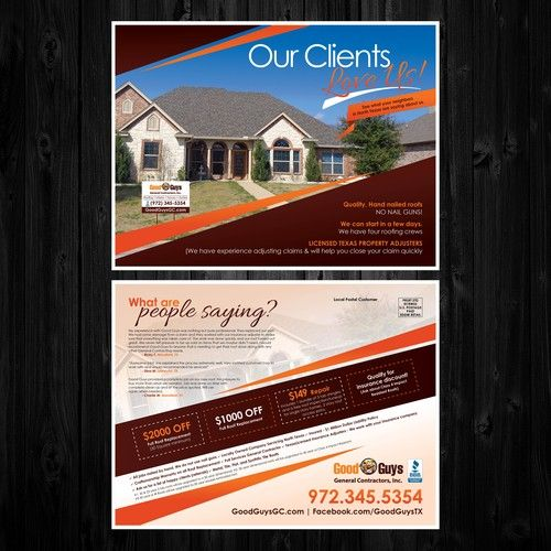 Create Stunning Attractive Postcard For Roofing Company We Sell