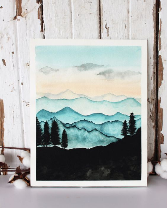 Blue Ridge Mountains Watercolor Print / Nature от RainStain: