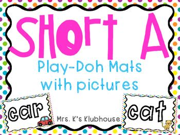 Short a play dough mats with pictures. Find it at Mrs. K's Klubhouse.