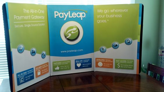A booth tabletop I designed for PayLeap.