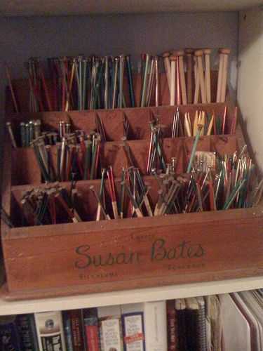 Knitting Needles Storage - I wonder if I could find a smaller version of this to store straights.