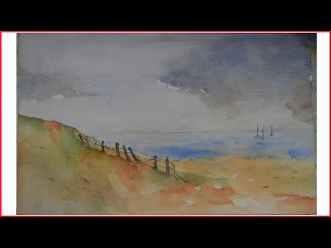 Watercoloring Sky Sand And Sea Videos De Peinture Mer Aquarelle