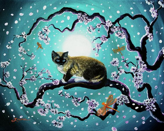 Siamese Painting - Snowshoe Cat And Dragonfly In Sakura by Laura Iverson: