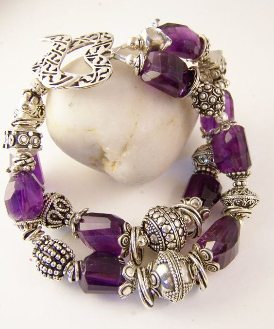 Bold amethyst and sterling double strand bracelet. February birthstone with filigree heart toggle clasp.  Stone Street Studio