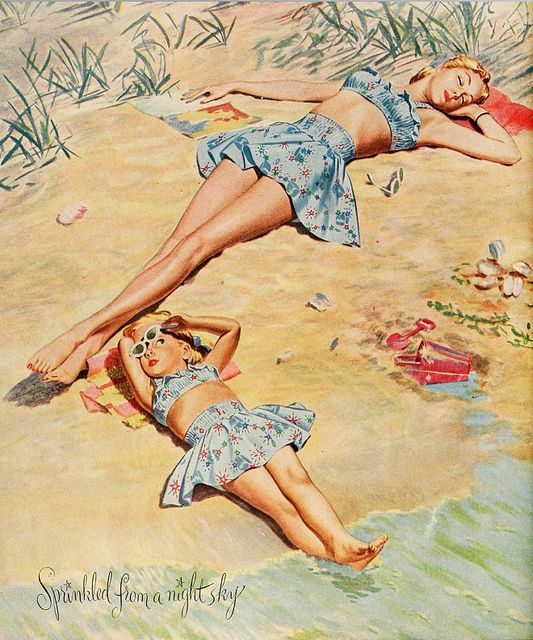 Too cute! (Bates Fabrics ad, 1946.) #vintage #1940s #swimsuits #summer #fashion: