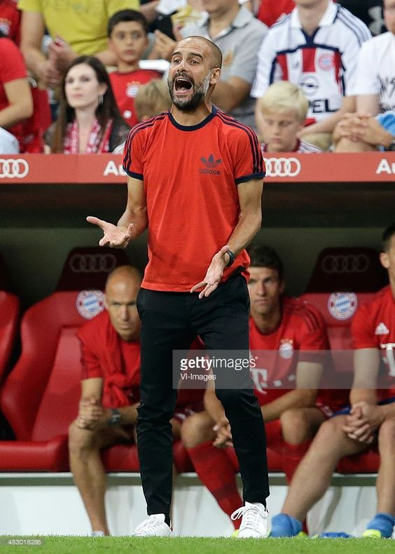 Coach Pep Guardiola of FC Bayern Munchen during the AUDI Cup match between FC Bayern Munich and AC Milan on August 4, 2015 at the Allianz Arena in Munich, Germany