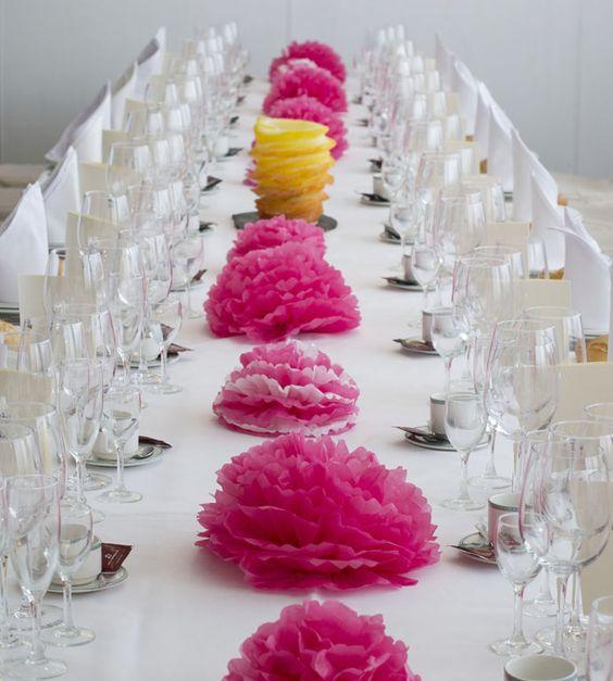 Pompones papel seda para decorar la mesa fiesta primera - Decorar mesas para eventos ...