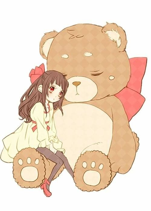 Cute girl with big bear!