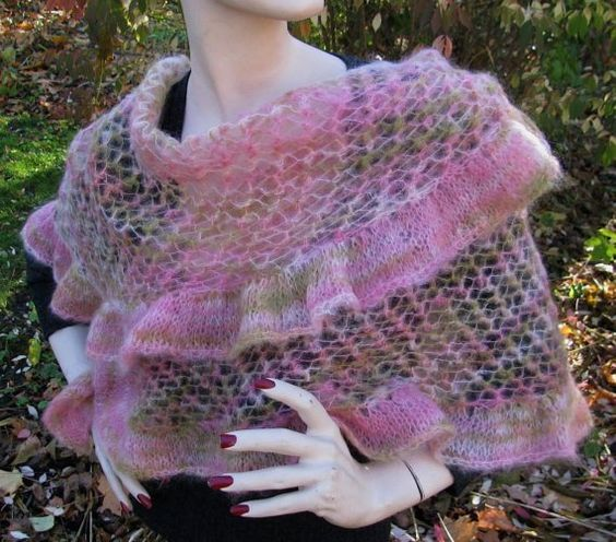 Hand Knit Shawl  Kid Mohair  'Cloe' by lizziemac7 on Etsy, $72.00