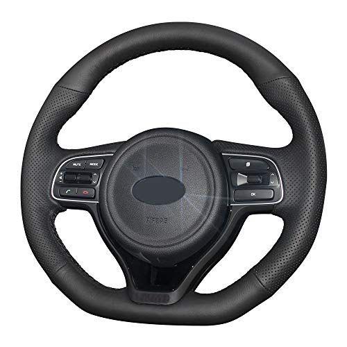 Eiseng Diy Black Genuine Leather Steering Wheel Cover Custom Fit