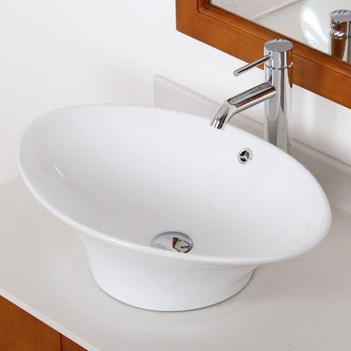 Long Bowl White Ceramic Porcelain Vessel Sink & Chrome Faucet Combo ...