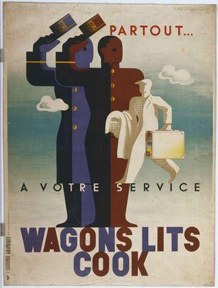 "A. M. Cassandre. Wagons Lits Cook. 1933 Técnica: Litografia de guache Dimensão: 62 x 46 1/4"" (157.5 x 117.5 cm) Número MOMA: 281.1935"