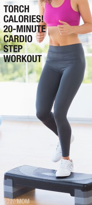 20-Minute Cardio Workout http://www.skinnymom.com/2014/04/11/20-minute-cardio-step-workout-for-a-tight-tush-and-thighs/
