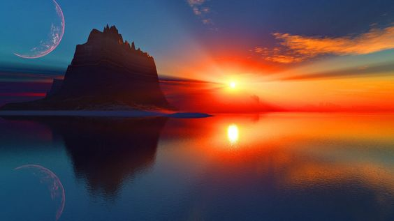 Unreal Sunset Reflection
