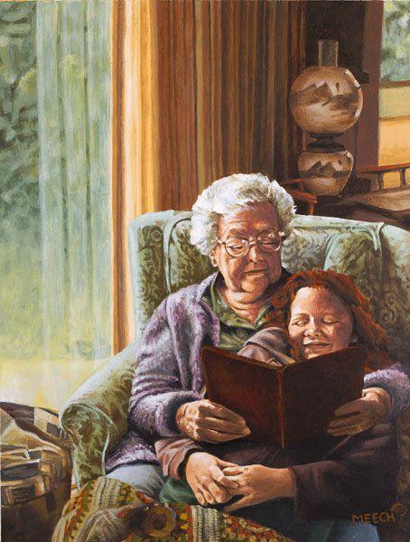 Black Grandmother With Grandchild Vintage Painting