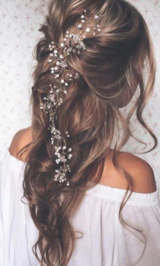 Long Bridal Hair Vine Wedding Headpiece Bridal Hair Accessories Wedding Hair Accessories Pearl Cryst Di 2020 Produk Kecantikan Model Rambut Pengantin Mahkota Pengantin