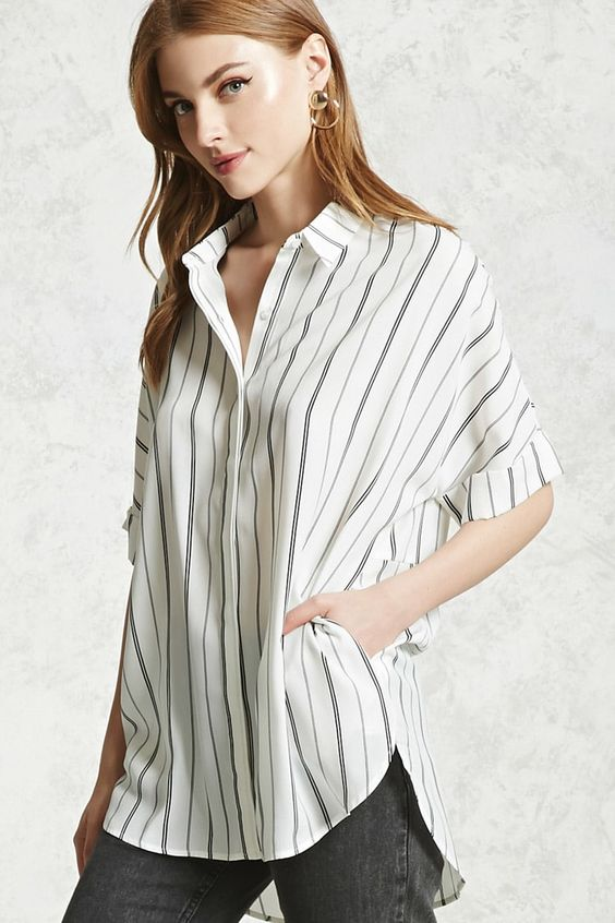 Blusa Oversize Rayas - Mujer - Blusas - Blusas + Camisas - 2000252048 - Forever 21 EU Español