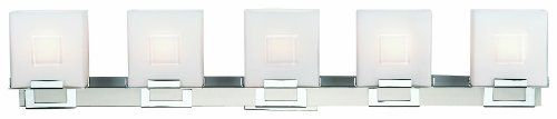 Forecast Lighting F442336NV Square 5 Light Bath, Satin Nickel/Chrome by Philips. Save 4 Off!. $257.21. Forecast Lighting F4423-36NV Square 5 light bath light with etched white opal glass, satin nickel finish with glossy chrome accents.