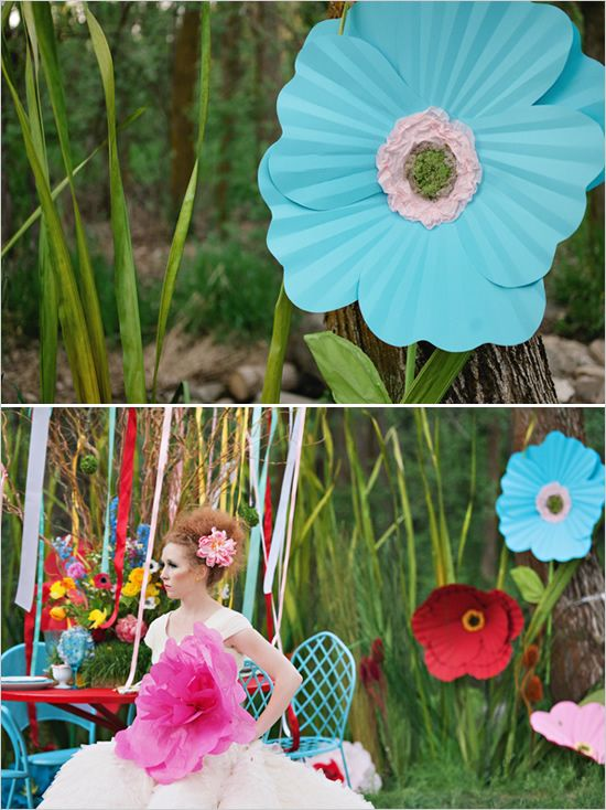 Giant paper flowers for a colorful wedding