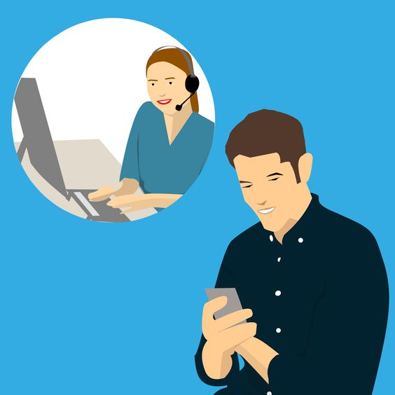 two people chatting -Live chat image