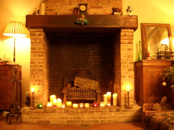 Image detail for -candles around the fireplace to give an illusion of an open fire and i ...
