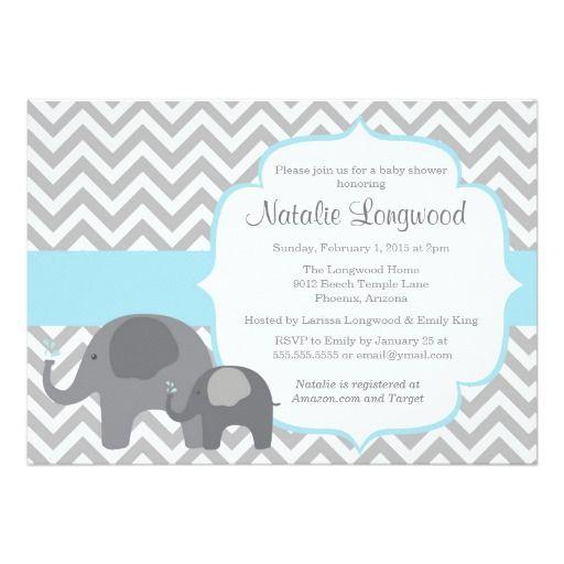 Elephant Baby Shower Invitation, chevron blue boy Card | Bebé elefante, Papel y Niños