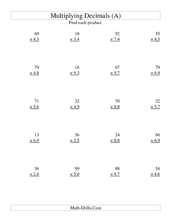 {Decimal Multiplication Worksheets 6th Grade Scalien – Multiplying Decimals Worksheet 6th Grade