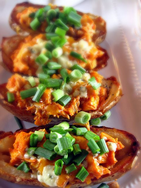 Buffalo Chicken Potato Skins with Blue Cheese and Cheddar Cheese