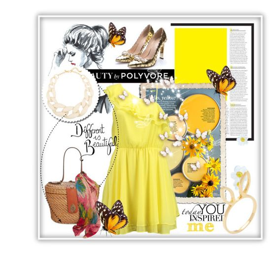 """""""yellow dress"""" by ainzme ❤ liked on Polyvore featuring Better Homes and Gardens, Bik Bok, Kenneth Jay Lane, Patricia Nash and Jacquie Aiche"""