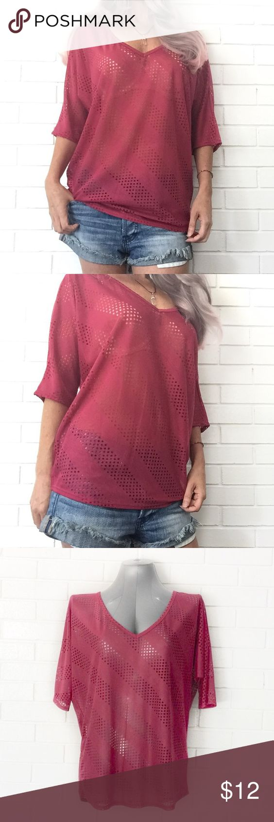 "🔴BOGO FREE🔴Maroon Semi Sheer Pattern Top ♦️Buy any item at list price to receive another item FREE. Please ask me to create your bundle (lesser value item will be free)♦️  •NWOT •V-neck  •Dolman sleeves •Keyhole peekaboo back •Semi sheer eyelet pattern  •Falls just below the waist •Comfortable loose fit  •Rayon/polyester •M   •Chest: 25"" (laying flat) •Length: 25""  •NO TRADE/HOLD  •YES BUNDLES   •PLEASE ASK QUESTIONS & READ DESCRIPTIONS. Measurements and sizing recommendations are for…"