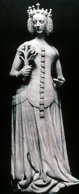 """""""Jeanne de Bourbon"""" 1390 14th century Sideless gown, surcote with plastron is attached in the front. Hair is has a net like plaited coiled over the ears and a fillet"""