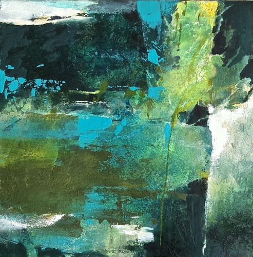 Evergreen-abstract landscape by Joan Fullerton Mixed Media ~ 20 x 20
