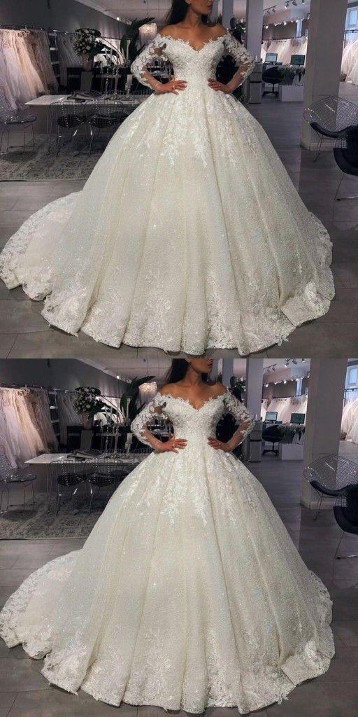 Luxus Brautkleider Prinzessin Mit Glitzer Hochzeitskleider Mit Armel In 2020 Ball Gowns Wedding Beautiful Wedding Dresses Wedding Dresses