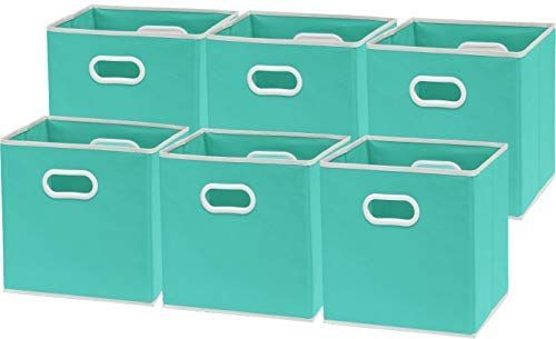 Amazon Com 6 Pack Simplehouseware Foldable Cube Storage Bin With Handle Turquoise 12 Inch Cube Home In 2020 Cube Storage Cube Storage Bins Fabric Storage Bins