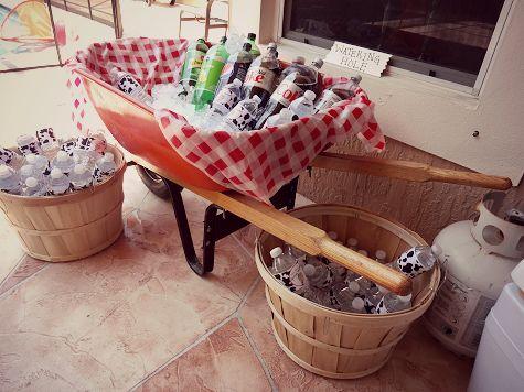 "Drink area - ""watering hole"" - farm theme 1st birthday party, wheelbarrow display"
