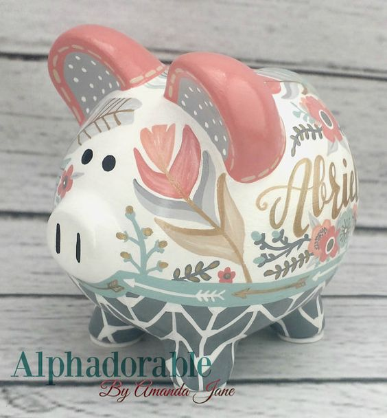 Boho Chic Feathers Piggy bank in Coral mint gold by Alphadorable