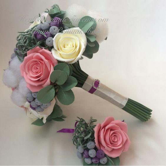 Букет с розами , суккулентами и брунией из полимерной глины.