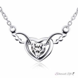 Collier Engelsflügel mit Herz Zirkonia aus 925 Silber im...