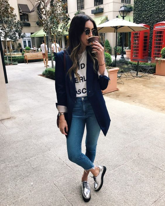 Top 5 Metallic Shoes | Thrifts and Threads. White t-shirt with graphic+cropped denim+silver laced shoes+Navy long blazer++brown crossbody+sunglasses. Fall Casual Outfit 2016: