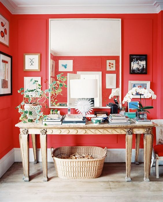 red walls and fun accessories