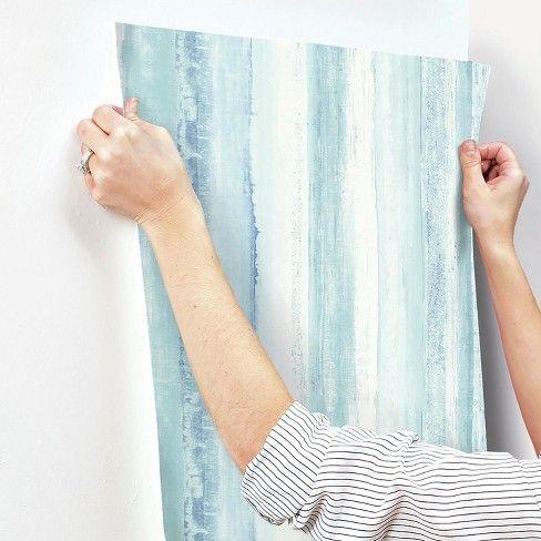Watercolor Stripe Peel Stick Wallpaper Blue Roommates Target Peel And Stick Wallpaper Temporary Decorating Peelable Wallpaper