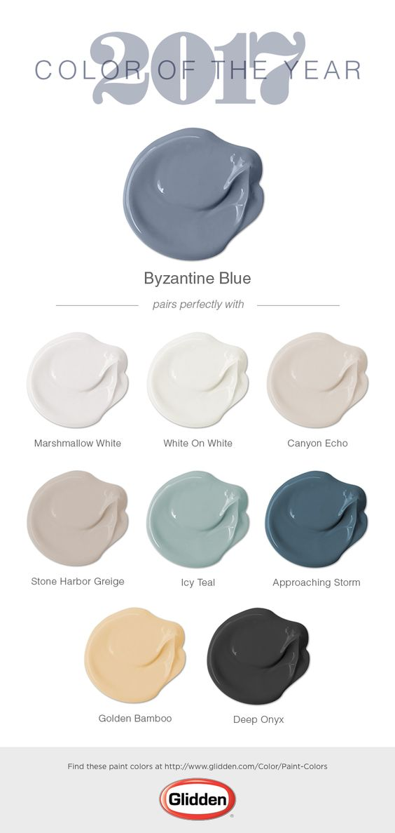 The Glidden® 2017 Color of the Year is Byzantine Blue! Chosen for its versatility and gender neutral properties, this bluish-purple paint color works well in any room of your home or in an exterior setting. Byzantine Blue is interesting because when paired with dark neutrals, it appears to be more grey. When partnered with whites, it appears more bluish-purple. Regardless of your pairings, this paint color is great for creating a space in which to re-focus your energy and balance your life.: