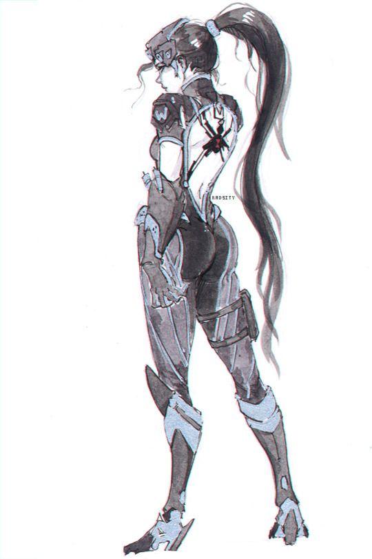 Black Widow Drawn In Metal Gear Style Overwatch Drawings