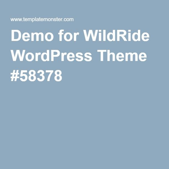 Demo for WildRide WordPress Theme #58378