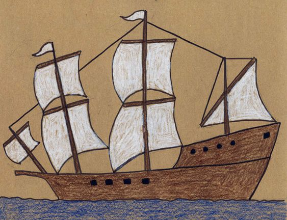 How to draw the Mayflower. PDF tutorial available.
