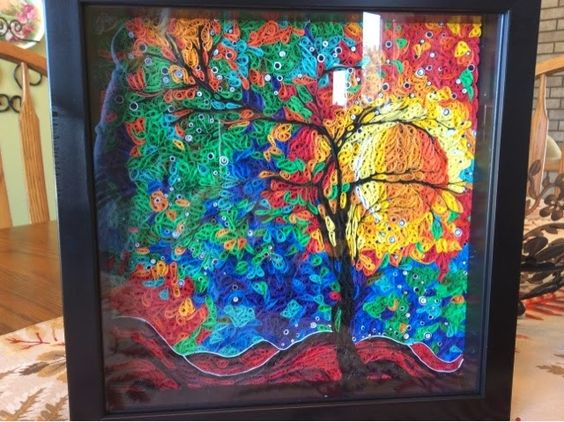 Rachelle's Crafting Zone: quilled Abstract colorful tree sunset picture painting