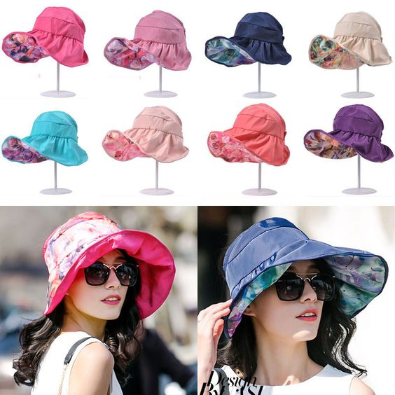 Hawaii Florals Revesible Anti-UV Summer Beach Wide Brim Cap Floopy Visor Sun Hat #UASU #WideBrim