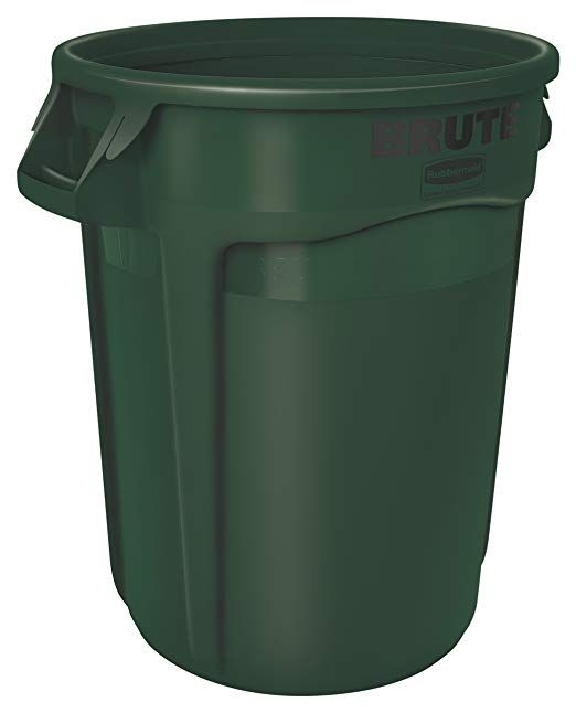 Rubbermaid Commercial Brute Heavy Duty Round Waste Utility Container With Venting Channels 10 Gallon Gree Rubbermaid Rubbermaid Commercial Products Trash Can