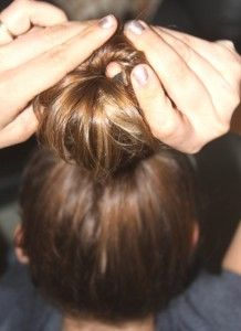 Apparently the secret to the perfect curly hair overnight.  A sock bun.