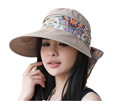 Roll Up Wide Brim Sun Visor Upf 50 Uv Protection Hat With Neck Protector Khaki Ihomey Sun Hats Women Accessories Hats Hats For Big Heads